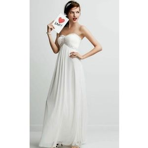David's Bridal A Line Beaded Bodice Gown
